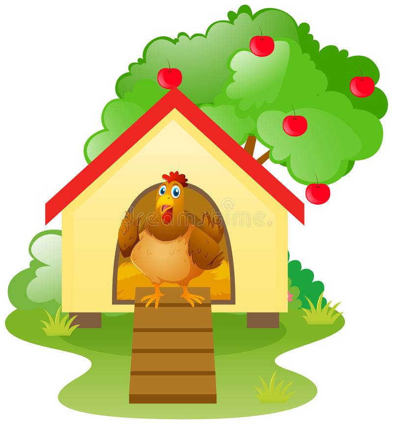 Chicken in the chicken coop stock illustration