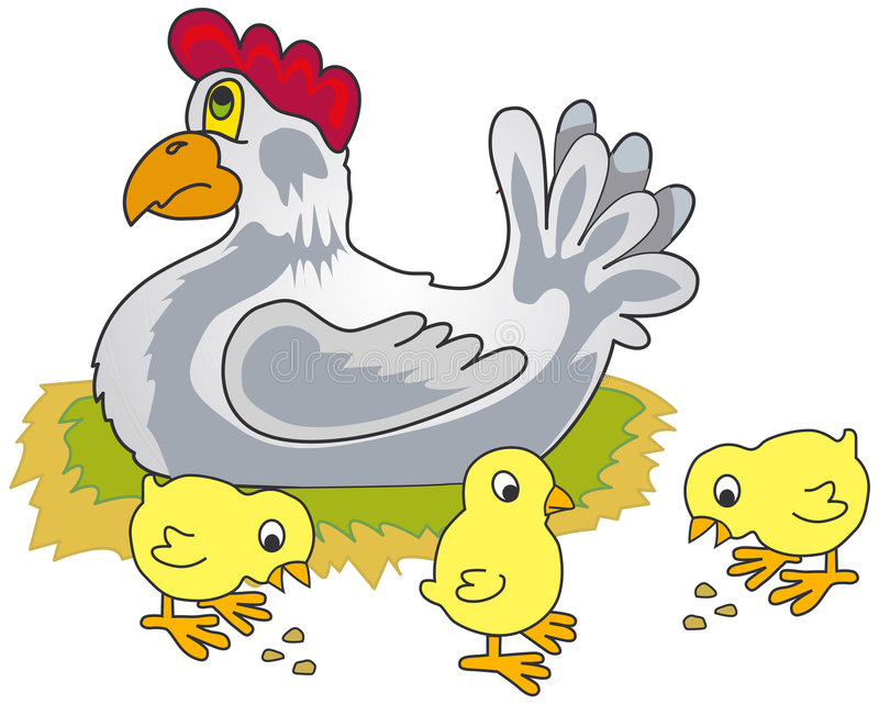 Rooster, Hen And Chickens Near Sunflower. Stock Vector