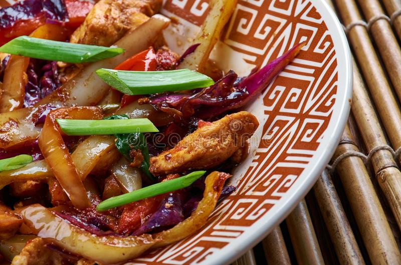 Chicken and Chinese Vegetable Stir-Fry. Chinese-style Kung Pao Chicken royalty free stock photography