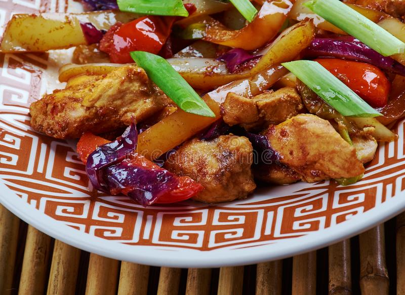 Chicken and Chinese Vegetable Stir-Fry. Chinese-style Kung Pao Chicken royalty free stock photo