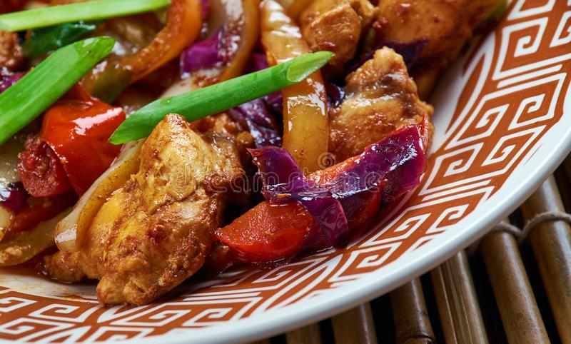 Chicken and Chinese Vegetable Stir-Fry. Chinese-style Kung Pao Chicken stock photos