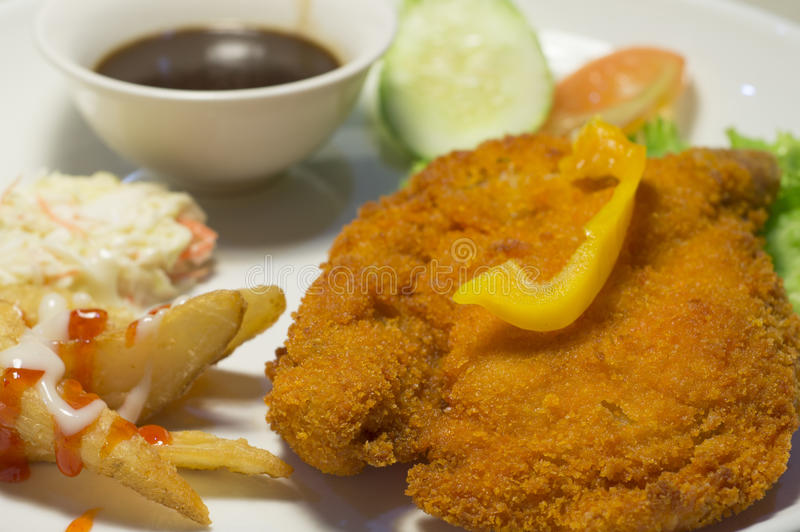 Download Chicken Chop With Wedges And Black Pepper Sauce Royalty Free Stock Images - Image: 28936919