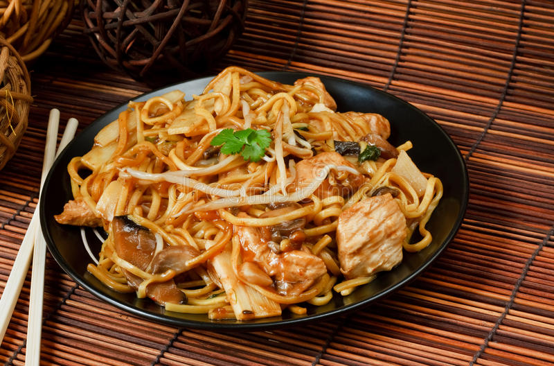 Chicken chow mein. A popular chinese food available at take aways stock photos