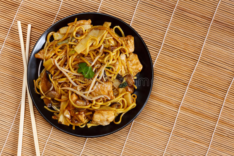 Chicken chow mein royalty free stock image