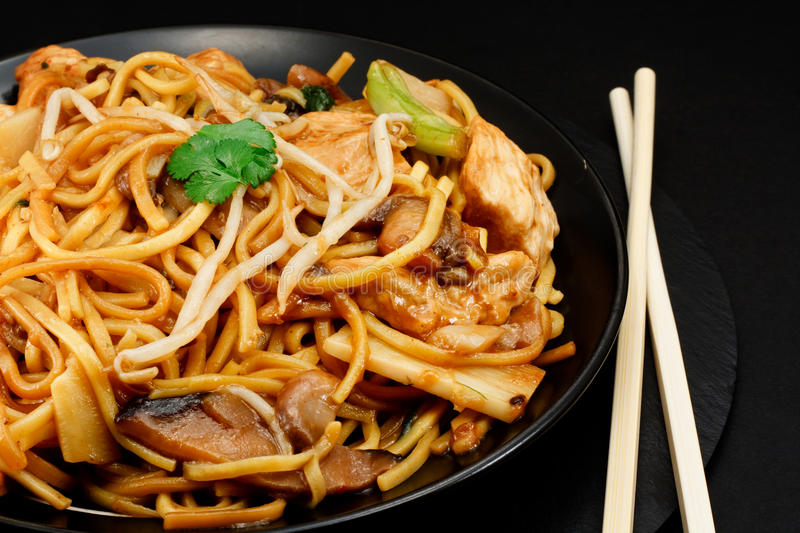 Chicken chow mein. A popular oriental dish available at chinese take outs royalty free stock images