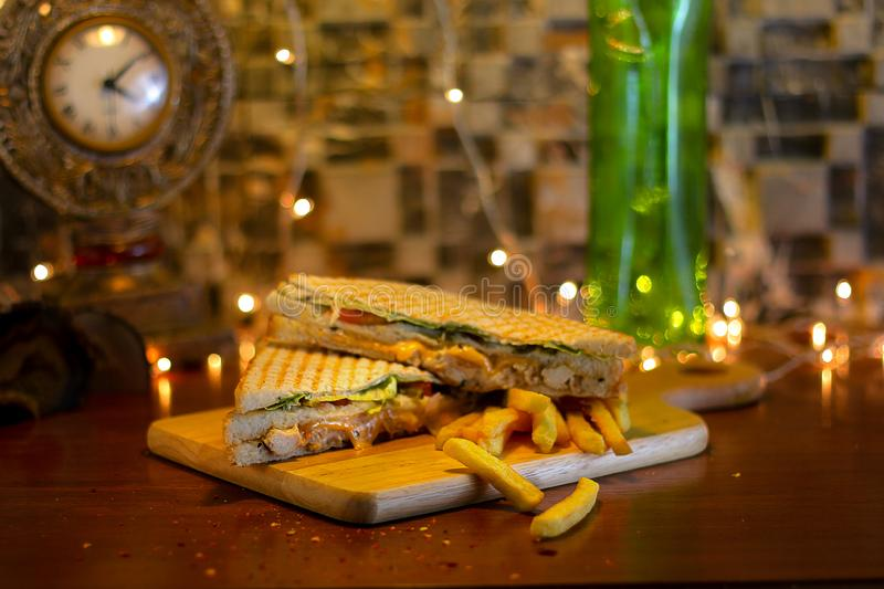 Chicken Club Sandwich With French Fries stock photography