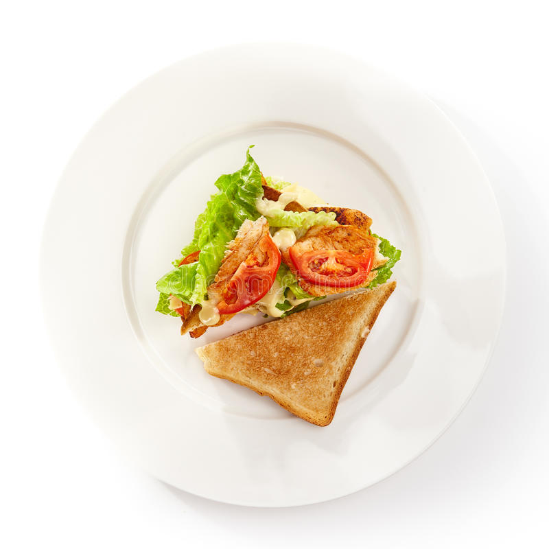Chicken Club Sandwich. Club Sandwich with Grill Chicken, Salad and Tomato stock photos