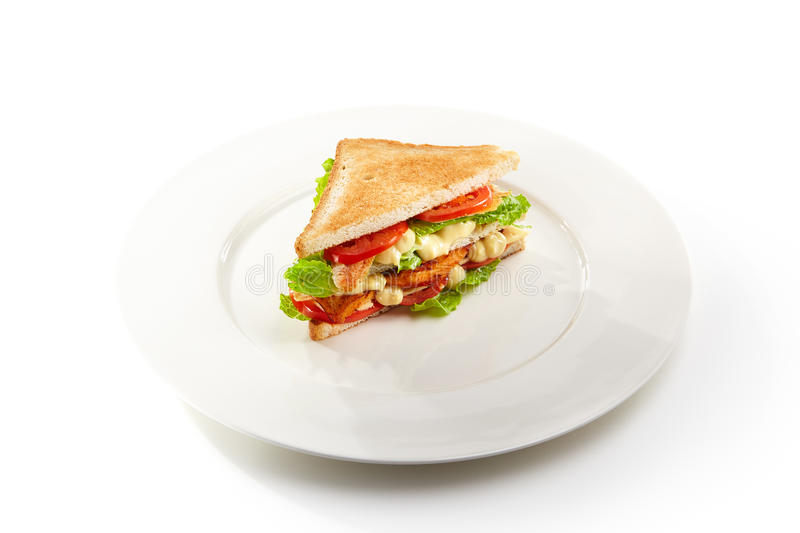 Chicken Club Sandwich. Club Sandwich with Grill Chicken, Salad and Tomato stock images