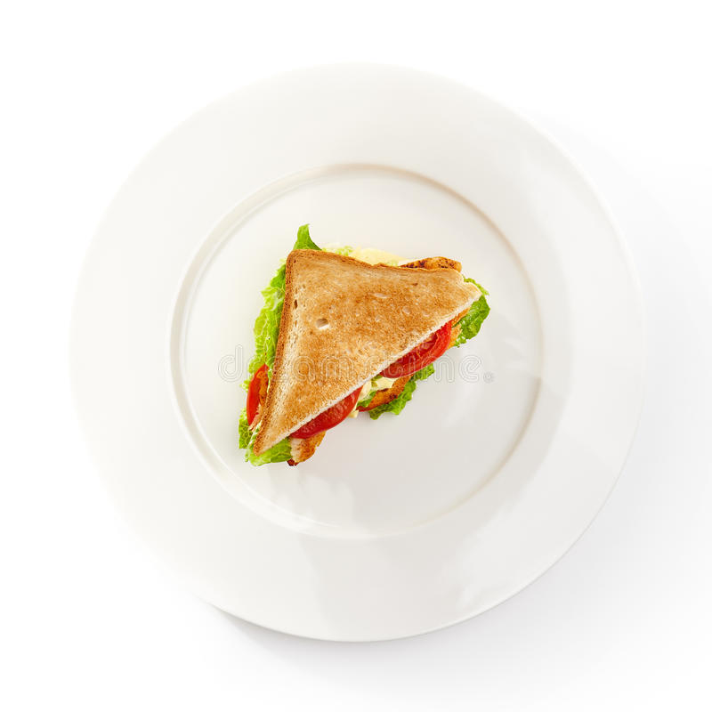 Chicken Club Sandwich. Club Sandwich with Grill Chicken, Salad and Tomato royalty free stock photography