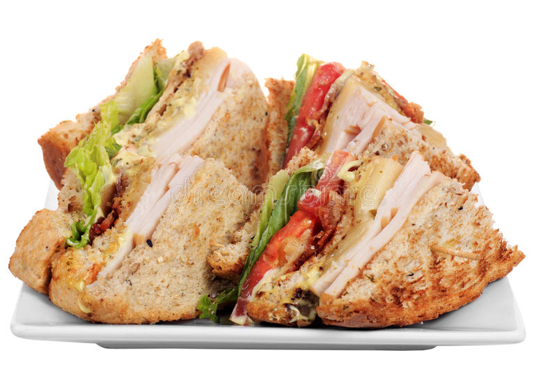 Chicken club sandwich isolated. On white background royalty free stock photography