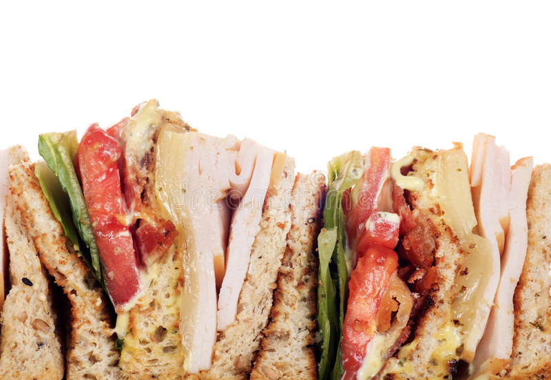 Chicken club sandwich isolated. On white background royalty free stock photos