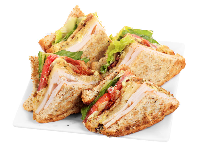 Chicken club sandwich isolated. On white background stock photos