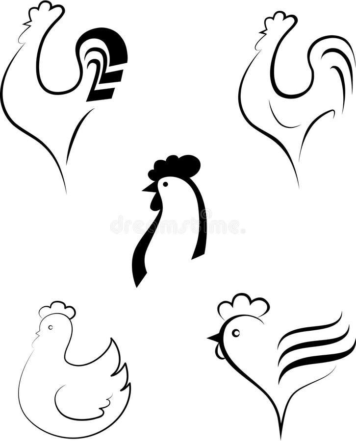 Chicken and cockerel. Element for design illustration stock illustration