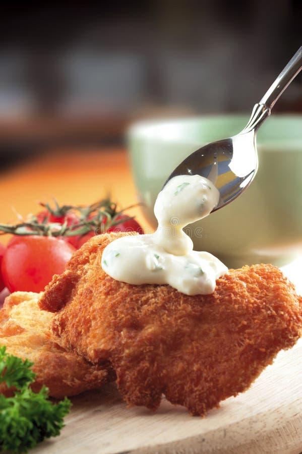 Chicken coleslaw stock image