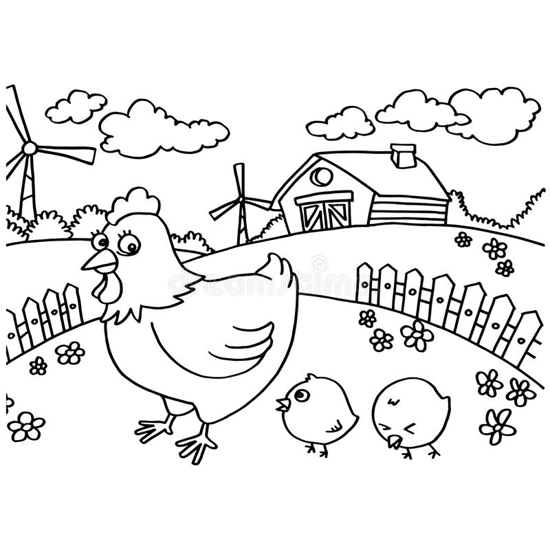 Chicken Coloring Pages Vector Stock Vector - Illustration of chick ...