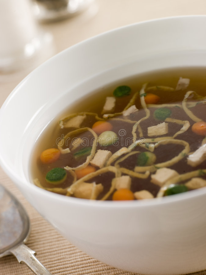 Download Chicken Consomm With Vegetable Pearls And Julienne Stock Photo - Image: 5620278