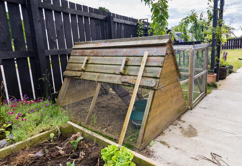 Chicken coop ark. Chicken coop in self sufficiency garden or allotment royalty free stock images