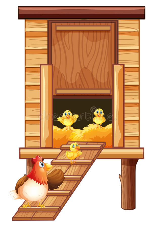 Chicken coop with hen and chicks stock illustration