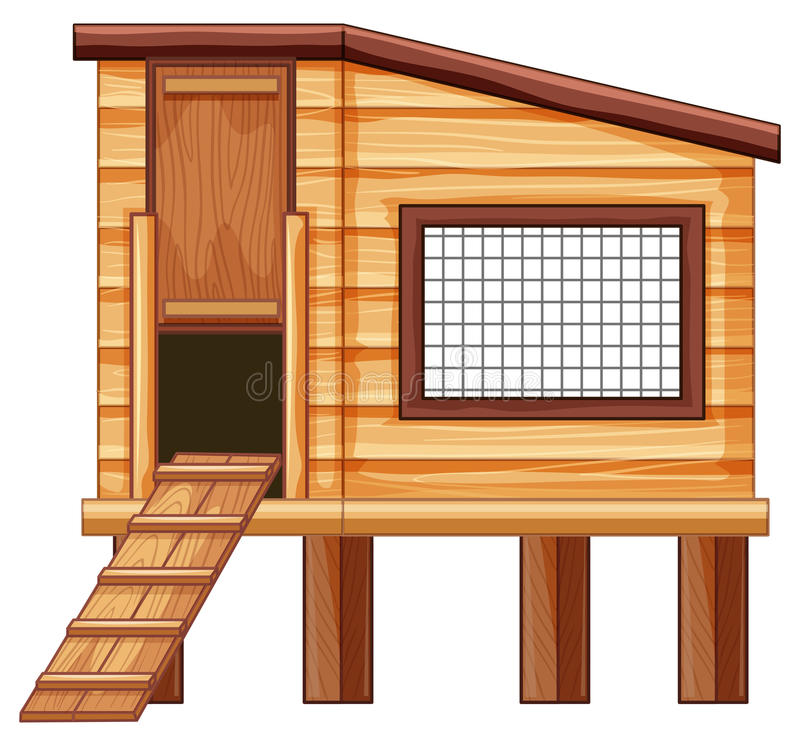 Chicken coop made of wood royalty free illustration
