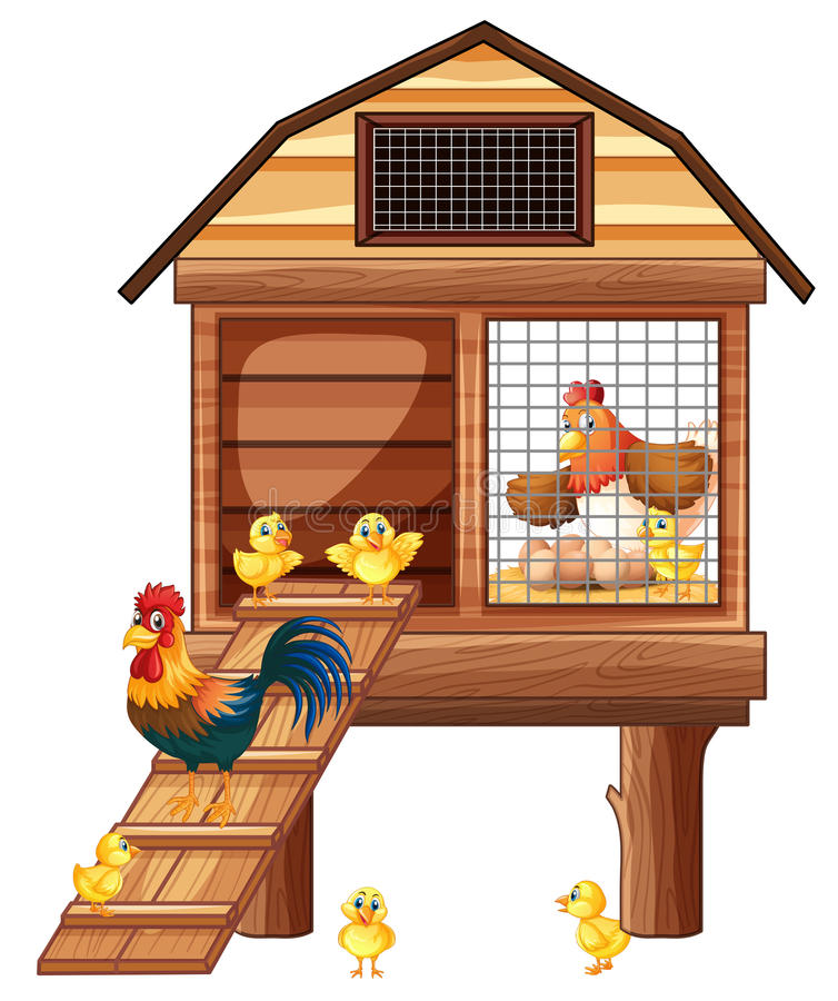 Chicken coop with many chicks stock illustration
