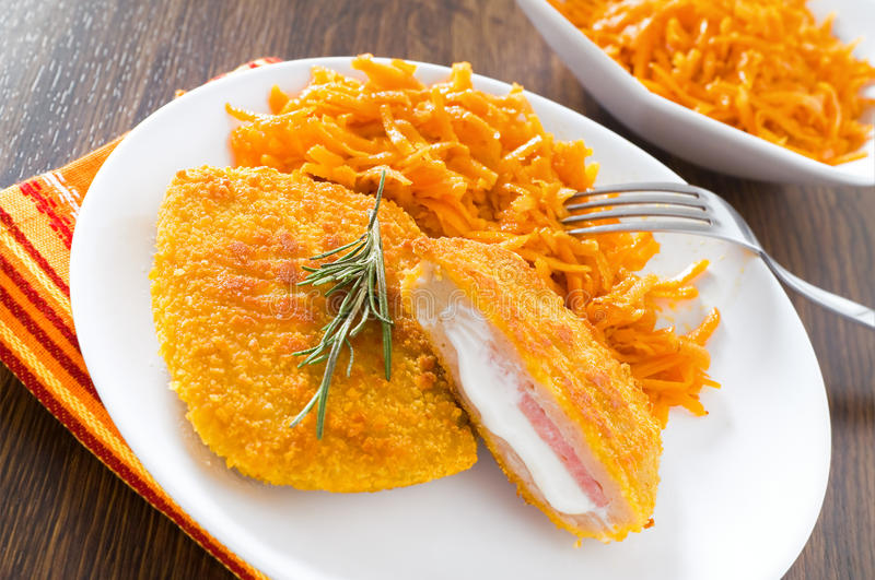 Download Chicken Cordon Bleu With Grated Carrots. Stock Photo - Image: 23117640