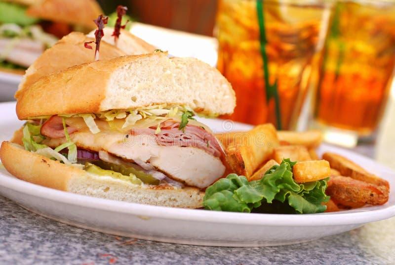 Chicken Cordon Bleu Sandwich stock images