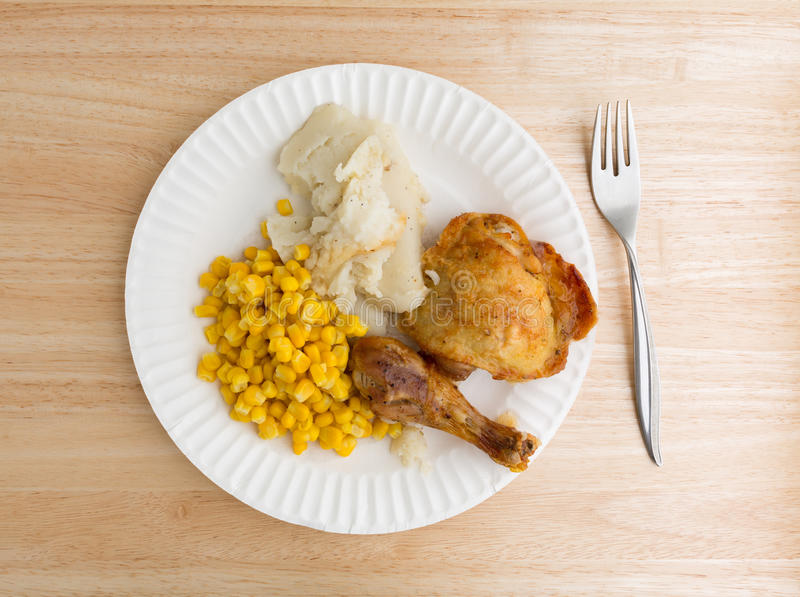 Download Chicken Corn And Mashed Potatoes On Paper Plate With Fork Stock Image - Image & Chicken Corn And Mashed Potatoes On Paper Plate With Fork Stock ...