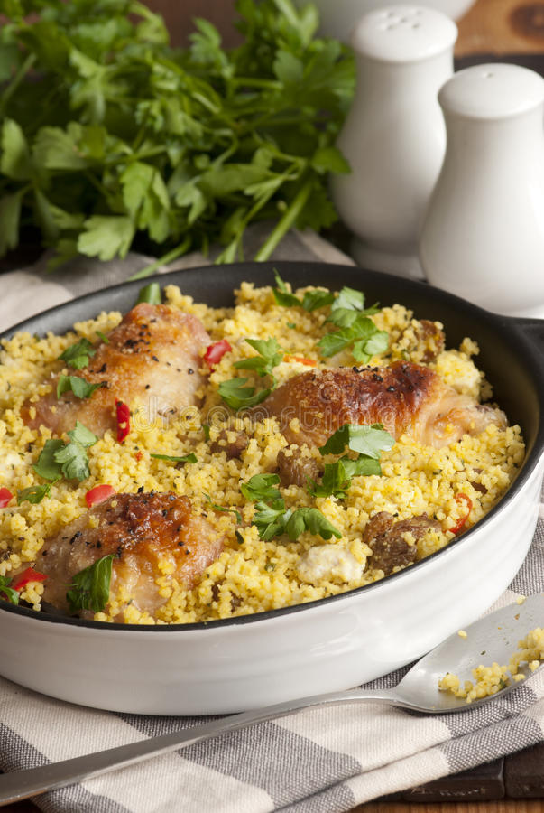 Chicken and couscous one-pot royalty free stock photos