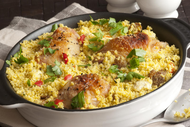 Chicken and couscous one-pot stock image