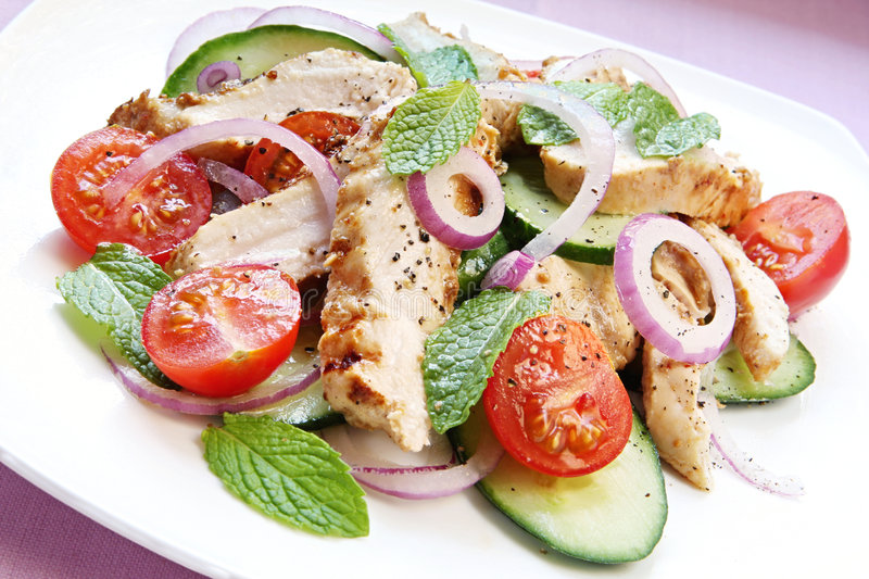 Chicken Cucumber and Mint Salad stock photo