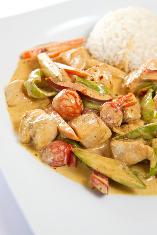Chicken curry. Healthy and nutritious rice with chicken curry royalty free stock image