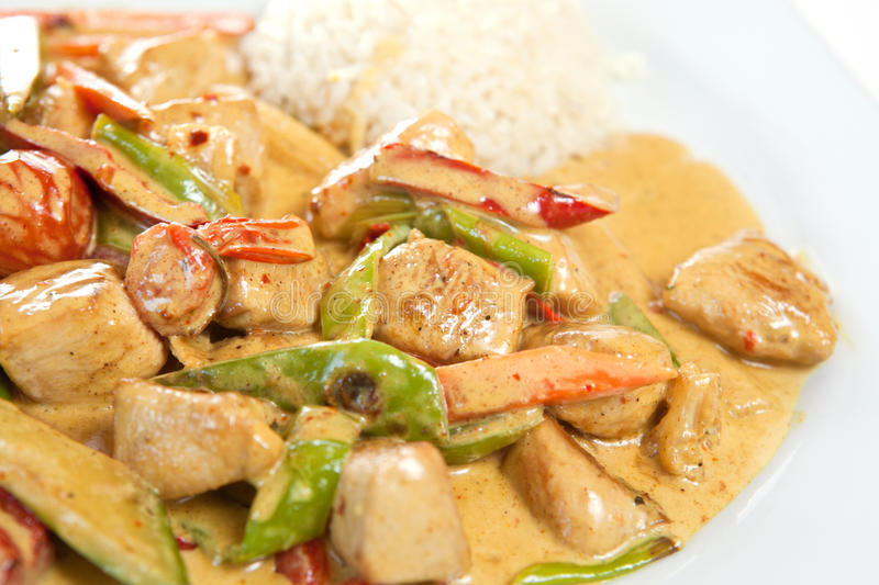 Chicken curry. Healthy and nutritious rice with chicken curry stock photo