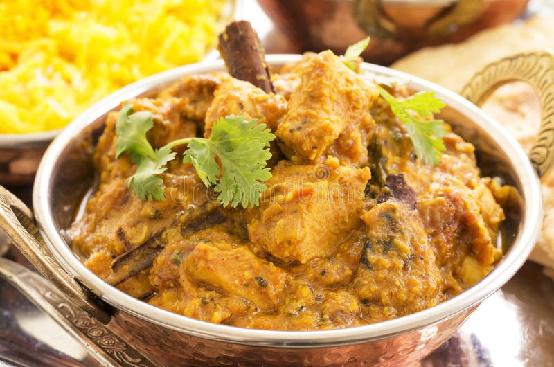 Chicken Curry. As closeup in a traditional indian bowl royalty free stock images