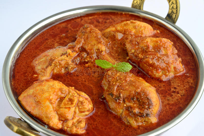 Chicken Curry. Indian Dish of Chicken curry with Parotha stock photos