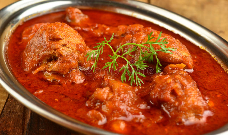 Chicken Curry. Indian Dish of Chicken curry in red curry stock image