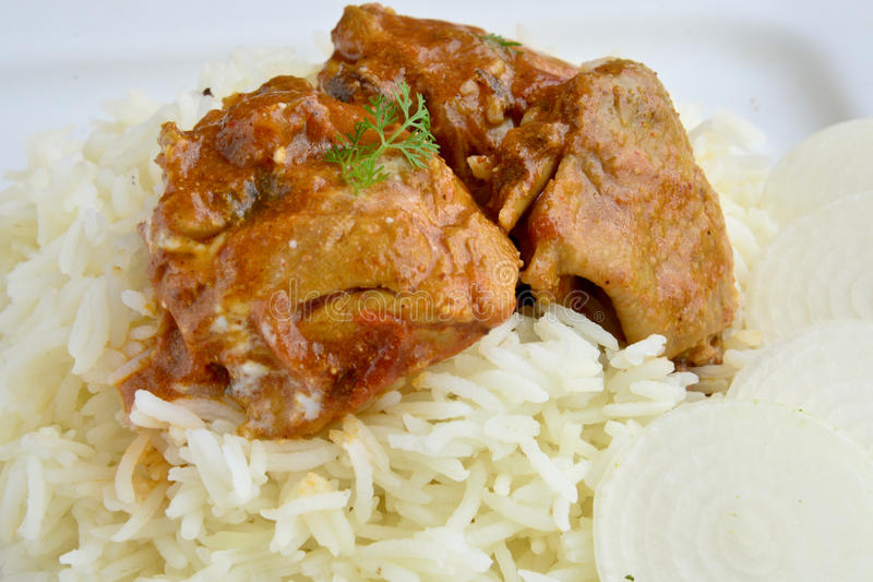 Chicken Curry. Indian Dish of Chicken curry with rice stock photography