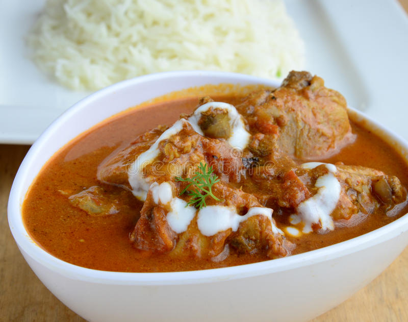 Chicken Curry. Indian Dish of Chicken curry with rice royalty free stock photos