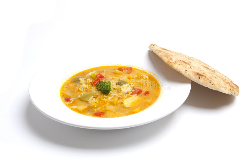 Chicken curry with naan royalty free stock image