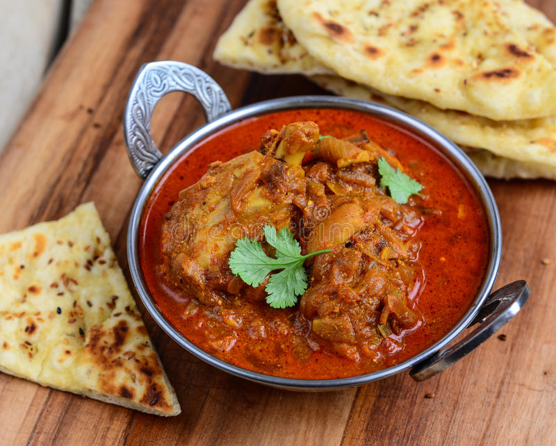 Chicken Curry with naan. Indian Dish of Chicken Curry with naan bread royalty free stock images