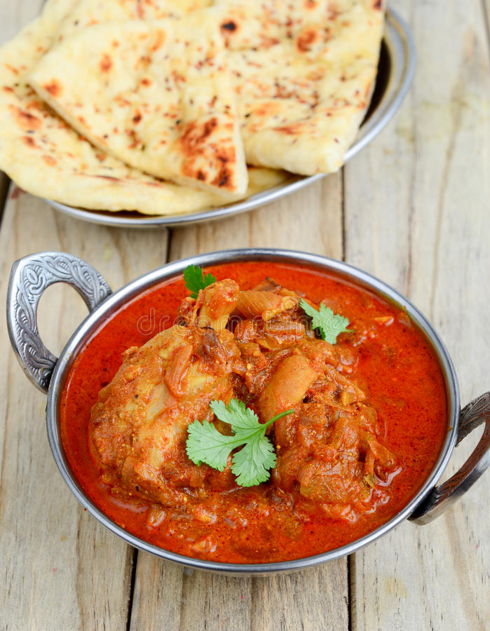 Chicken Curry with naan. Indian Dish of Chicken Curry with naan flatbread royalty free stock image