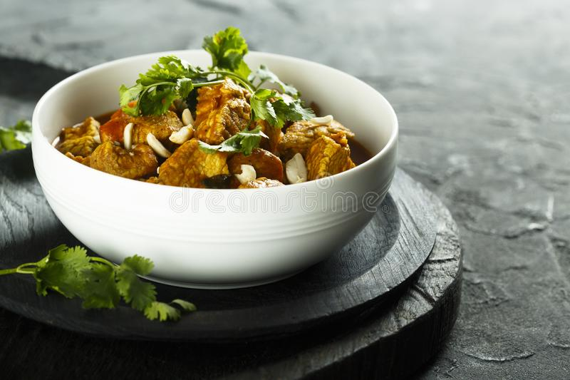 Chicken curry with peanuts and cilantro royalty free stock images