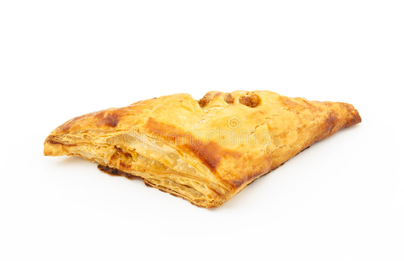 Chicken curry puff. On white background stock photos