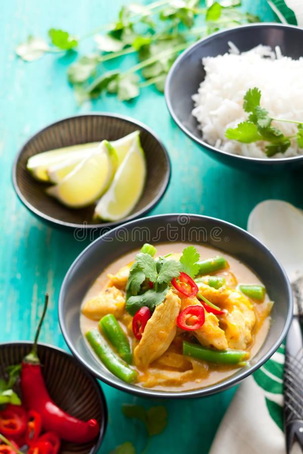 Chicken curry with rice. Chicken curry with green beans and rice royalty free stock photos