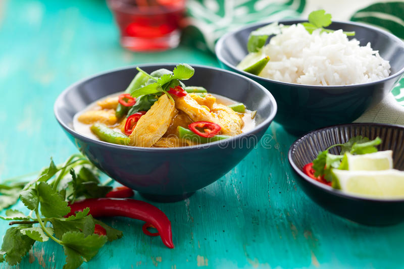 Chicken curry with rice. Chicken curry with green beans and rice royalty free stock photo