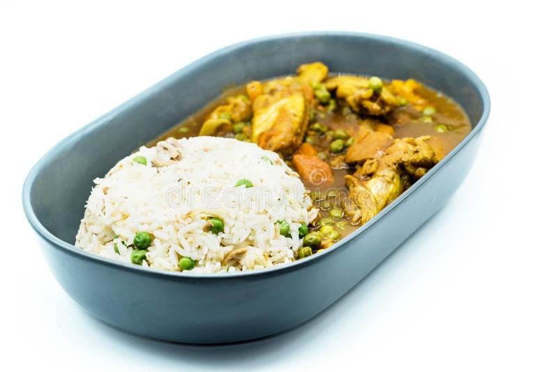 Chicken curry with rice and green bean on plate isolated on white background stock images
