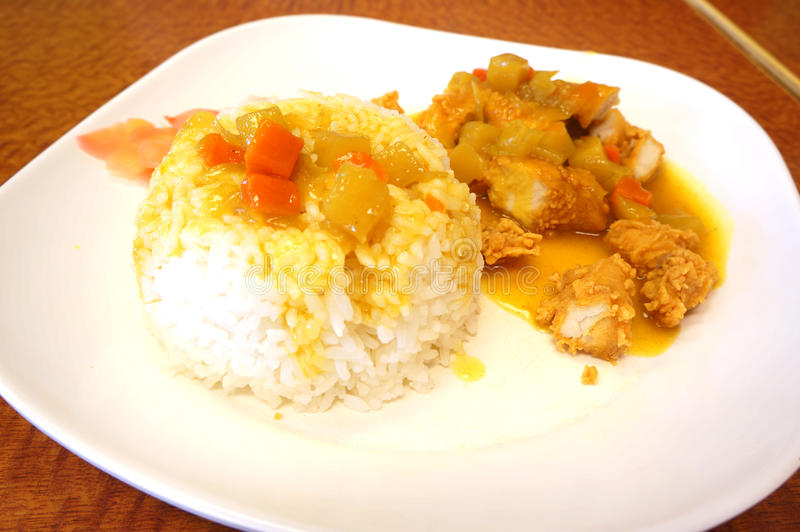 Chicken curry with rice. Thai food royalty free stock photography