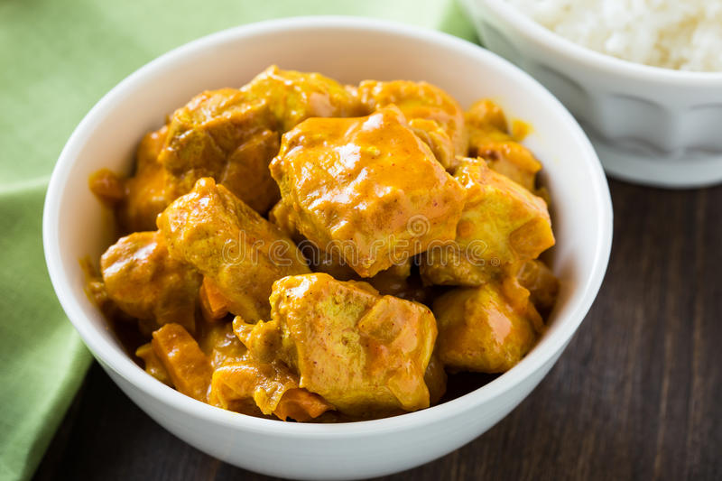 Chicken curry with rice stock image