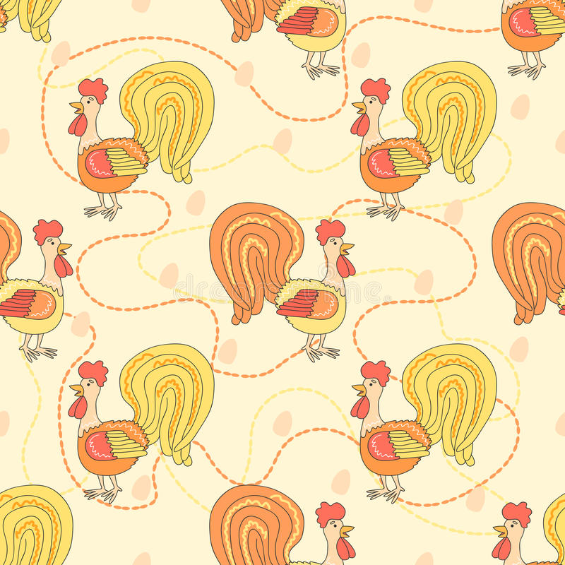 Chicken Cute Pattern Seamless Background With Rooster