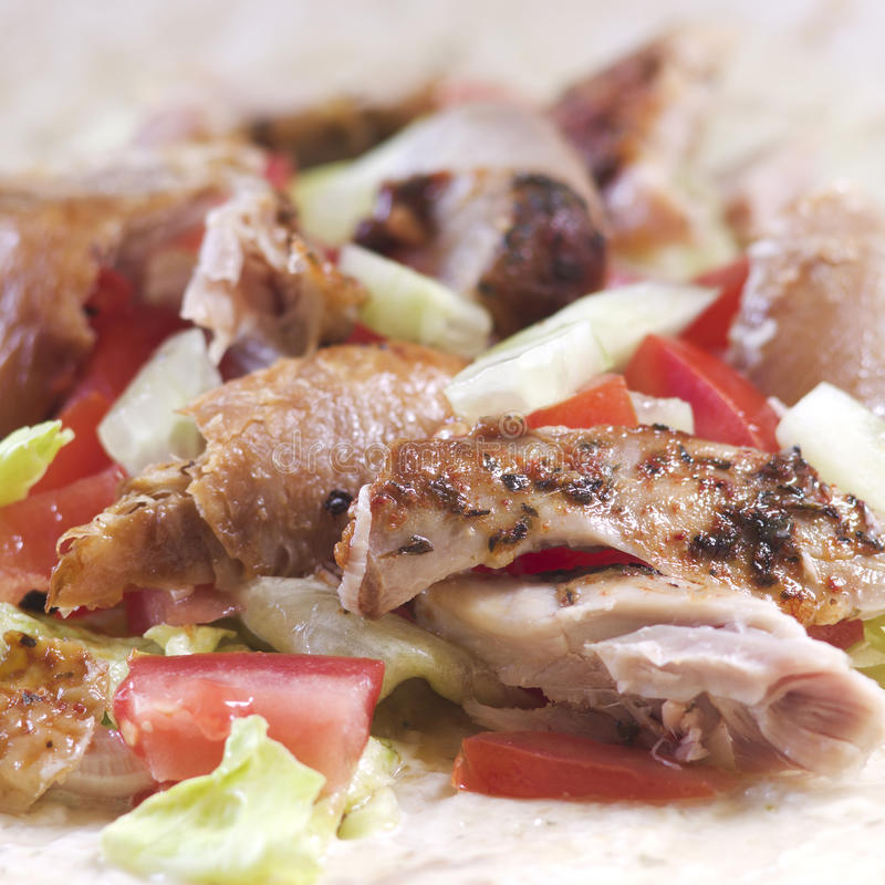 Chicken doner. Meat vegetable health royalty free stock image