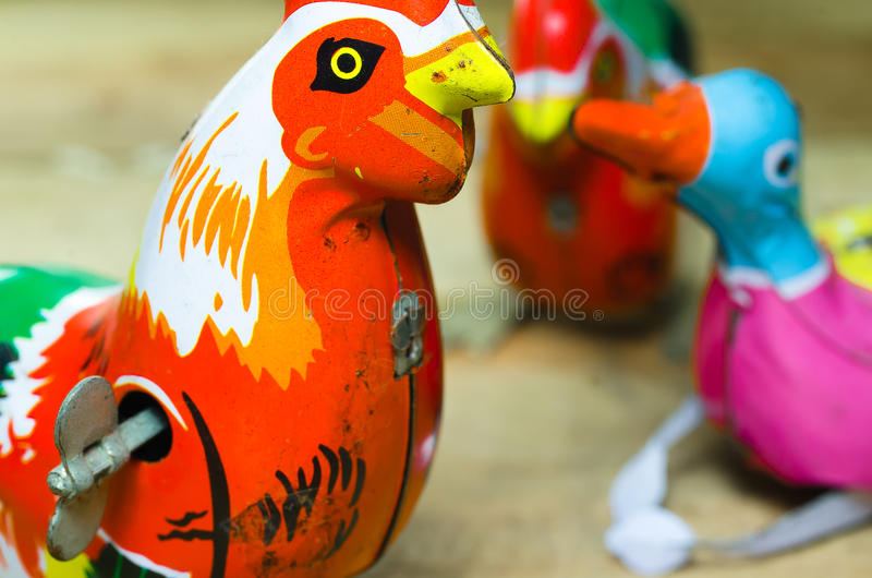 Chicken and duck Tin toys royalty free stock photos